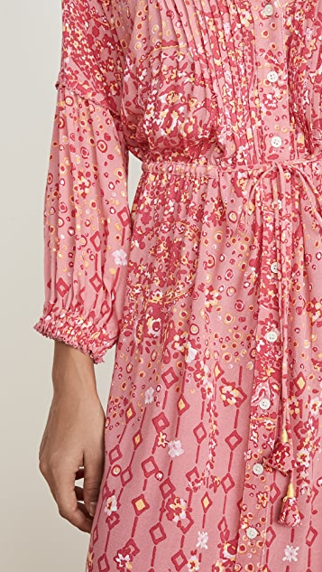 Poupette St Barth Макси-платье с длинными рукавами Ilona