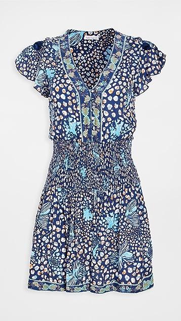 Poupette St Barth Rachel Smocked Mini Dress