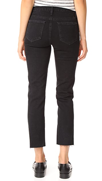 PAIGE Jacqueline Straight Leg Jeans with Raw Hem