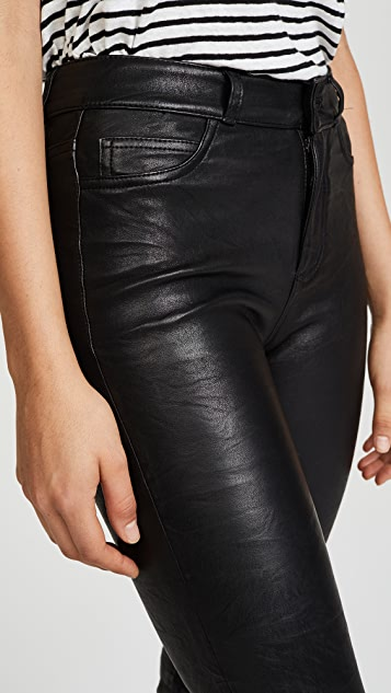 PAIGE Jacqueline Crop Straight Leather Pants