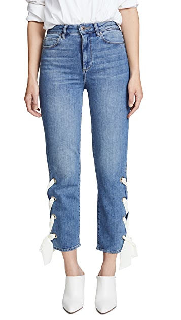 PAIGE Sarah Straight with Scarf Lace Up Jeans