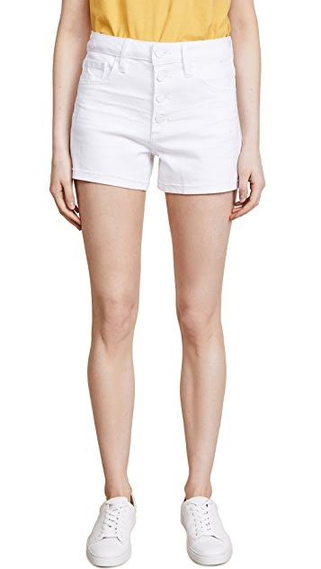 PAIGE High Rise Sarah Shorts with Exposed Buttons