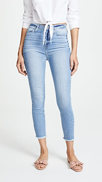 Margot Cropped Jeans With Frayed Hem by Paige