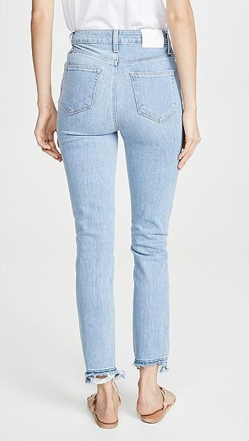 PAIGE Sarah Slim Jeans with Ripped Hem