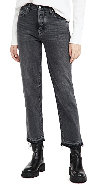 PAIGE Sarah Straight Ankle with Covered Button Fly Jeans