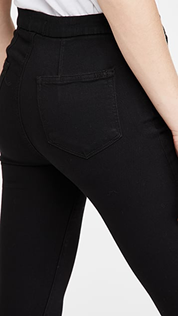 PAIGE Hoxton Pull On Ultra Skinny Jeans - Black Shadow