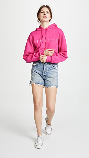 Paradised Embroidered Cropped Hoodie