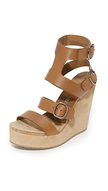 H?gl Buckle strap wedge sandals AZwsI2dOs7
