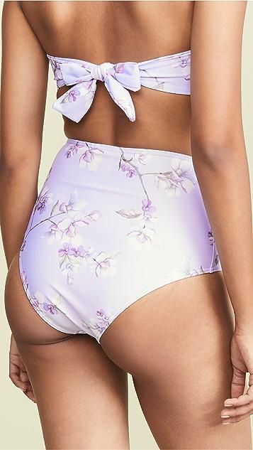 Пляжная одежда Peony Плавки бикини с высокой талией с защипами