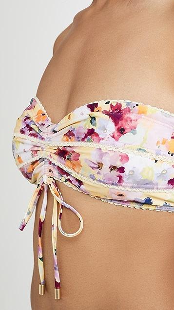 Peony Swimwear Tutti Frutti Ruched Bandeau Bikini Top