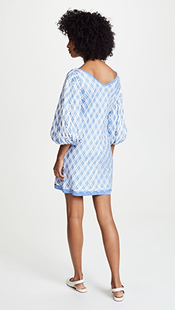 Pepa Pombo Marrakesh Dress with V Neck & Puff Sleeves