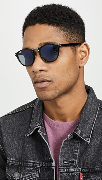 Persol Round Blue Lens Sunglasses