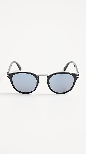 Persol Round Blue Lens Sunglasses