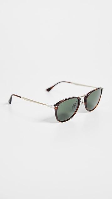 Persol Havana Round Sunglasses