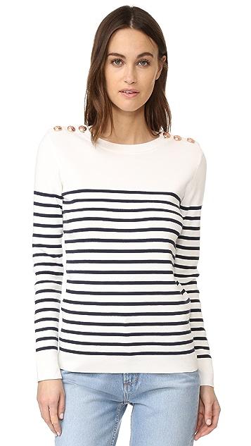 Petit Bateau Striped Button Embellished Sweater