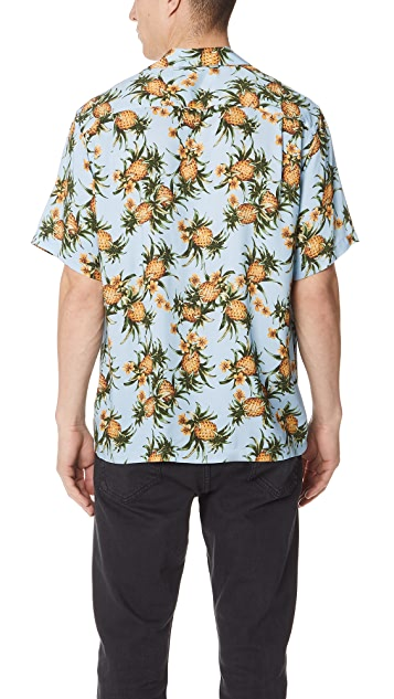 Portuguese Flannel Ananas Pineapple Short Sleeve Shirt