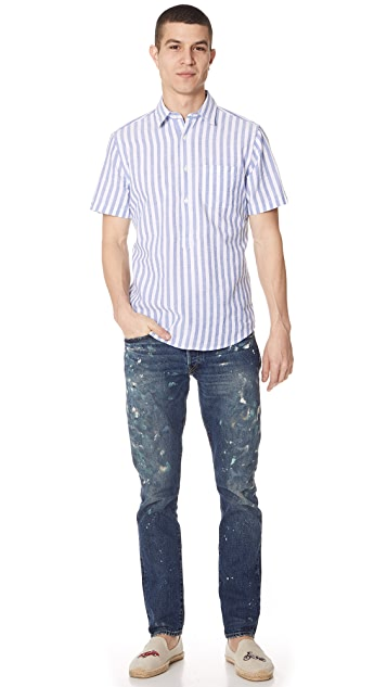 Portuguese Flannel Praia Striped Popover