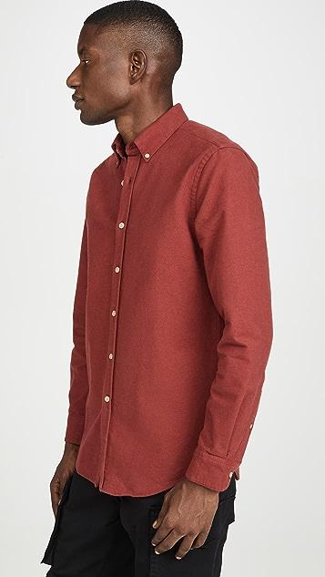 Portuguese Flannel Bordeaux Chamois Button Down Shirt