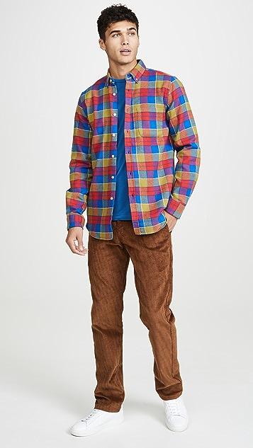 Portuguese Flannel Nebraska Plaid Flannel Button Down Shirt