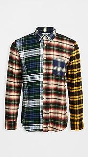 Portuguese Flannel Colorblocked Patch Flannel Button Down