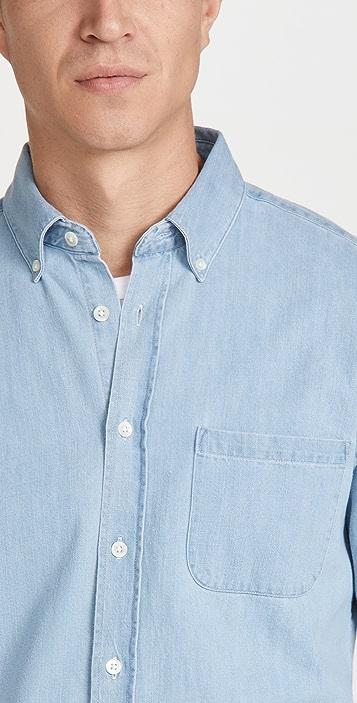 Portuguese Flannel Washed Denim Button Down Shirt