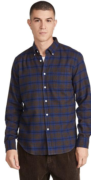 Portuguese Flannel High Vis Plaid Flannel Button Down Shirt
