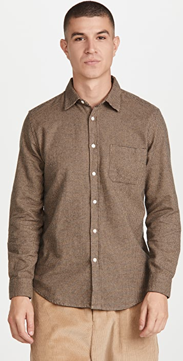 Portuguese Flannel Pied Houndstooth Flannel Button Down Shirt