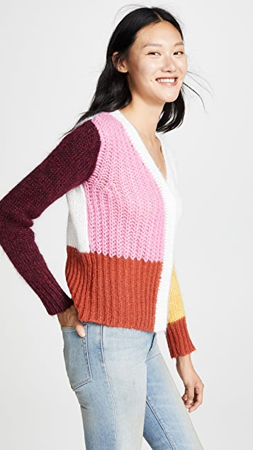 PH5 Andrea Mohair Colorblocked Cardigan