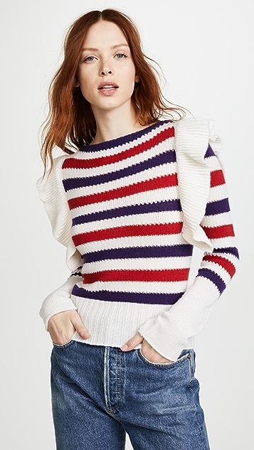 Philosophy di Lorenzo Serafini Ruffle Striped Pullover