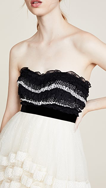 Philosophy di Lorenzo Serafini Strapless Ruffle Dress