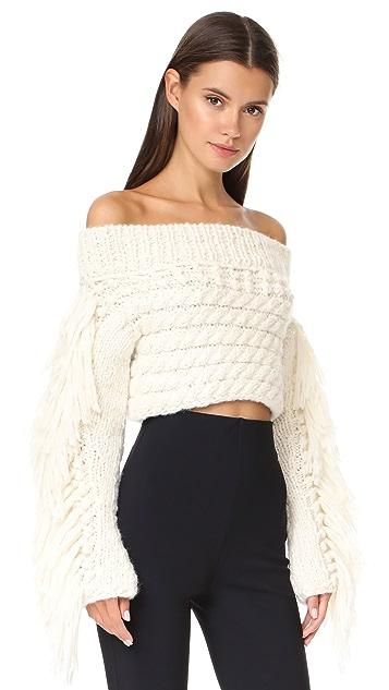 Philosophy di Lorenzo Serafini Fringe Crop Sweater