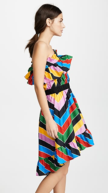 Philosophy di Lorenzo Serafini One Shoulder Stripe Ruffle Dress