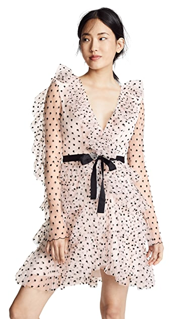Philosophy di Lorenzo Serafini Tiered Ruffle Mesh Dot Dress