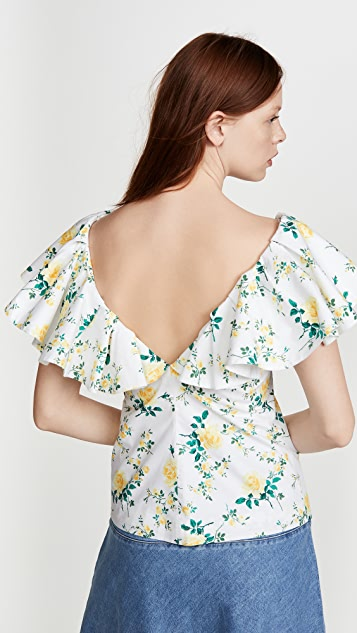 Philosophy di Lorenzo Serafini V Neck Floral Ruffle Shoulder Top