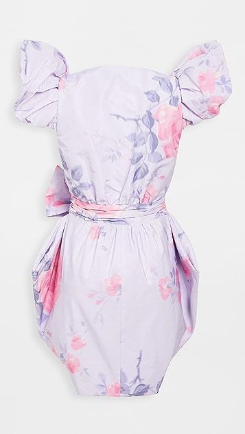 Philosophy di Lorenzo Serafini V Neck Mini Dress with Exaggerated Shoulders