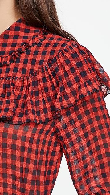 Philosophy di Lorenzo Serafini 荷叶边细节格子女式衬衫