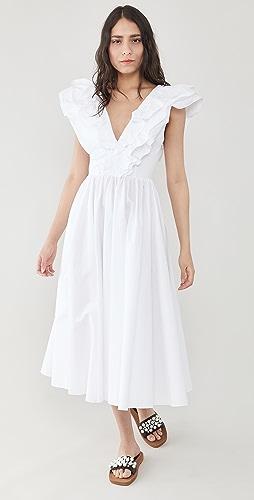 Philosophy di Lorenzo Serafini - Poplin Dress with Ruffle Neckline