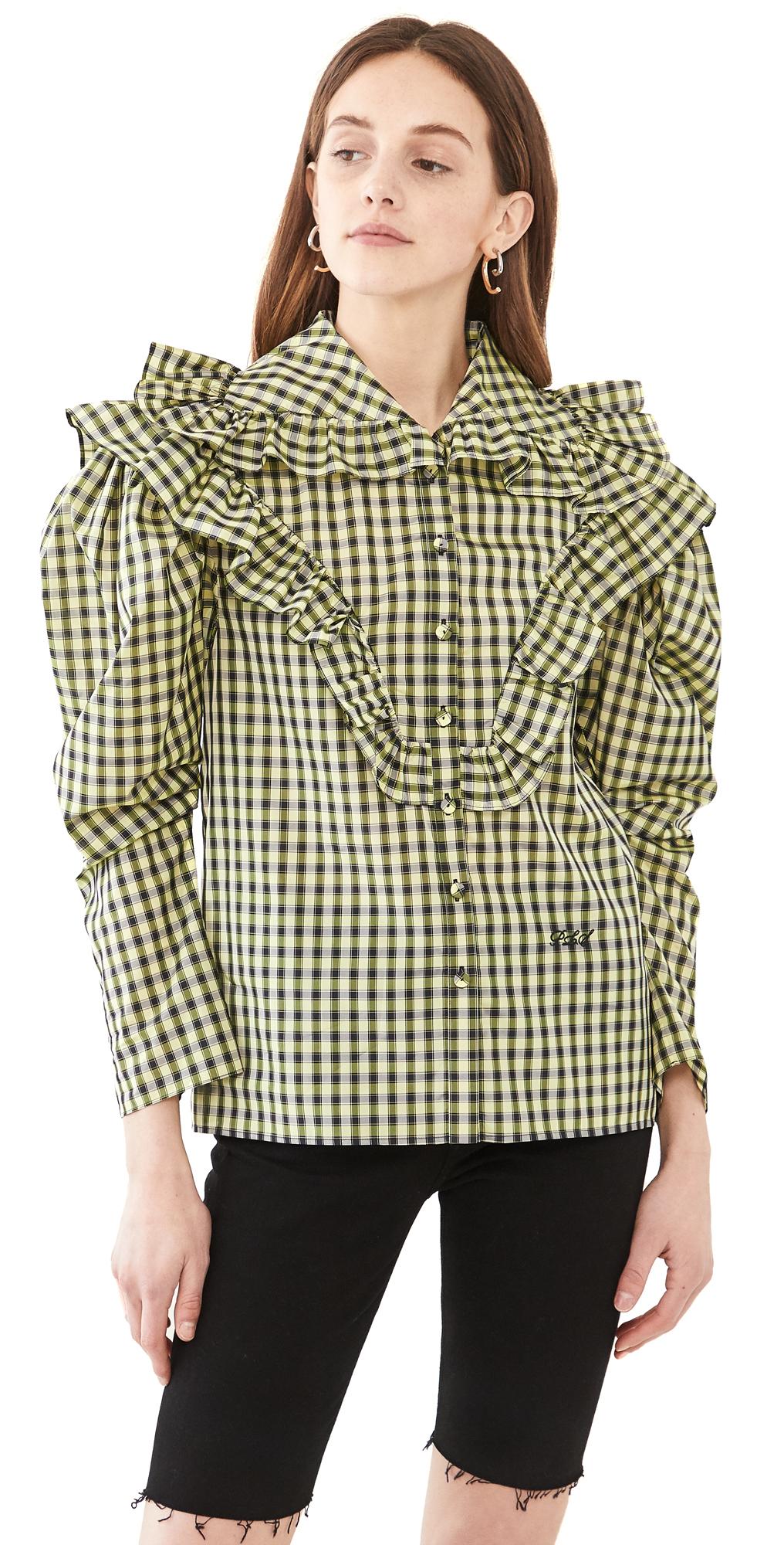 Philosophy Di Lorenzo Serafini Shirts VICHY TAFFETA BLOUSE WITH RUFFLE NECKLINE