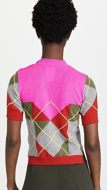 Philosophy di Lorenzo Serafini Cashmere Blend Argyle Short Sleeve Knit