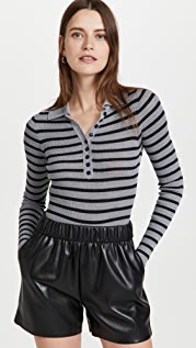 Philosophy di Lorenzo Serafini Viscose Wool Blend Striped Bodysuit