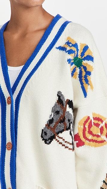 Philosophy di Lorenzo Serafini Equestrian Motif Wool Cardigan