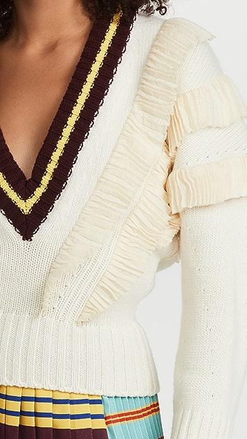 Philosophy di Lorenzo Serafini Extra-fine Merino Wool Ruffle Knit Sweater