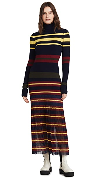 Philosophy di Lorenzo Serafini Extrafine Merino Wool Striped Sweater Dress