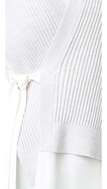 3.1 Phillip Lim Long Sleeve Silk Combo Cardigan