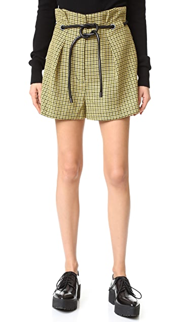 3.1 Phillip Lim Origami Pleated Houndstooth Shorts