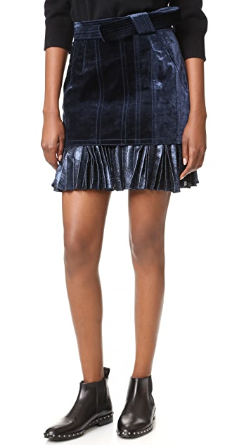 3.1 Phillip Lim Sculpted Velvet Skirt with Pleated Hem