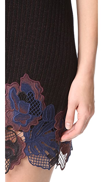 3.1 Phillip Lim Short Sleeve Embroidered Lace Ribbed Dress
