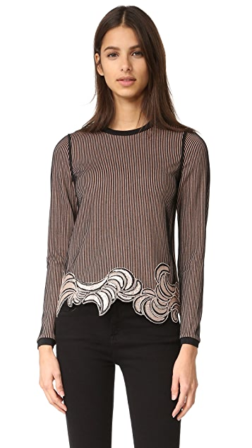 3.1 Phillip Lim Long Sleeve Embroidered Crop Top