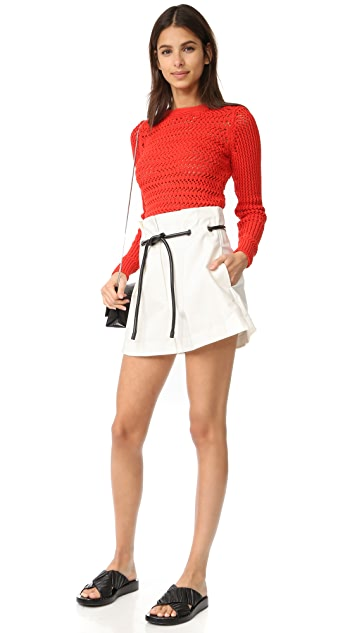 3.1 Phillip Lim Long Sleeve Crochet Pullover