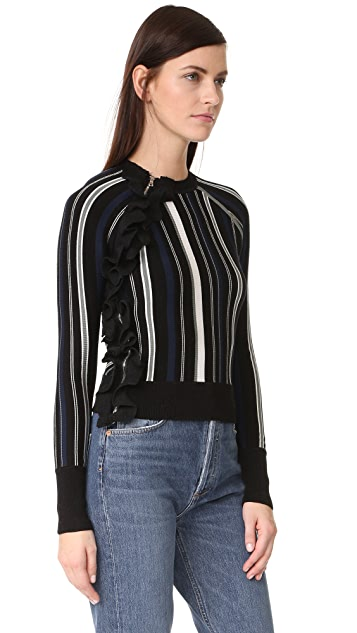 3.1 Phillip Lim Striped Ruffle Sport Pullover with Zippers